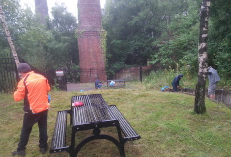 Volunteers tidy up picnic area